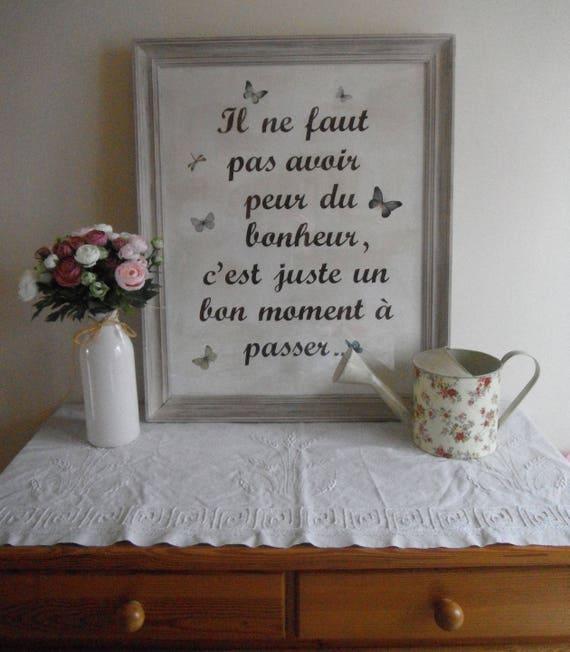 cadre peint patin et cir avec citation. Black Bedroom Furniture Sets. Home Design Ideas
