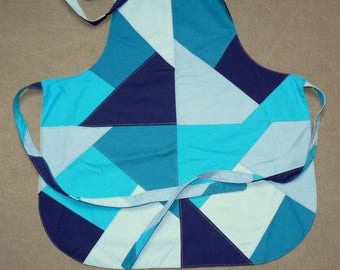 Apron in bluish tones how crazy patch