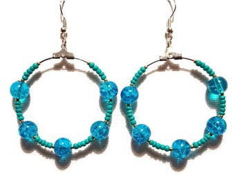 Earrings turquoise beads and turquoise glass beads