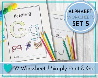 Alphabet Worksheets, Colour and Draw, ABC Printables, Preschool & Kindergarten Learning, Teaching Education Resource, Kids Activities