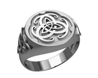 Triple Triangle Knot Irish Celtic Symbol Men Ring Sterling Silver 925 SKU30353