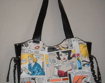 Gift for woman bag with handmade vintage comics
