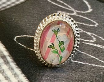"Silver Oval Ring ""cherry blossom"""