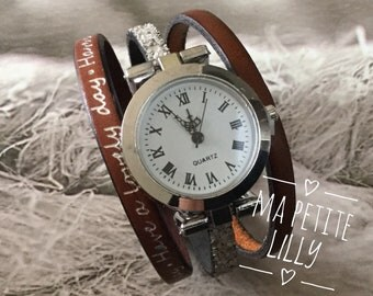Ladies size watch. XS.  2018 round watch cuff toned Brown Have a lovely day