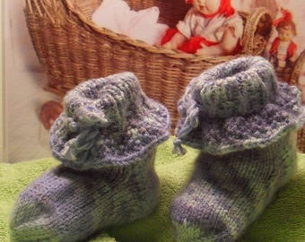 Booties baby Jacquard white/purple/blue for boy/girl 1-3 months