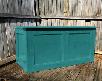Teal, Large Hope Chest, Toy Chest, Trunk, Coffee Table, Entry, Wooden Chest