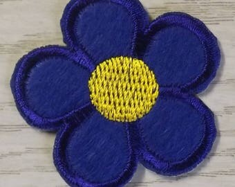 patch, badge fusible flower dark blue