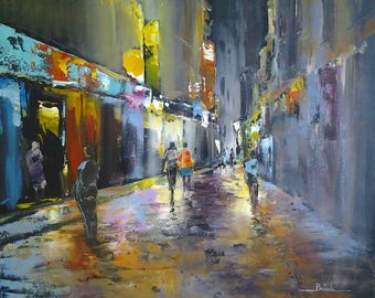 """night street scene"" original painting done with palette knife"
