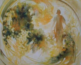 """Harvest"" Watercolour Painting on canvas 40cmx40cm"