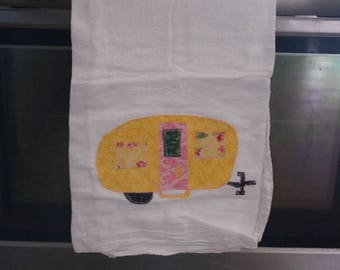 Vintage Happy Camper Hand Towels - Pinks and Yellows