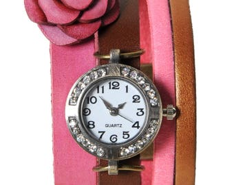 Watch jewelry Paris red and bronze