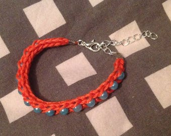 Friendship Bracelet with synthetic Pearl blue