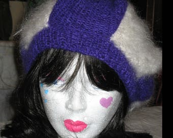 Large off white/purple mohair beret