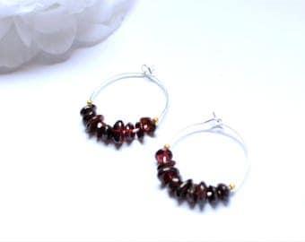 GRANA earrings hoop silver gemstones: Garnet