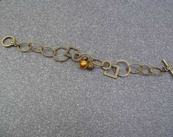 """Geometric"" bracelet all in bronze"