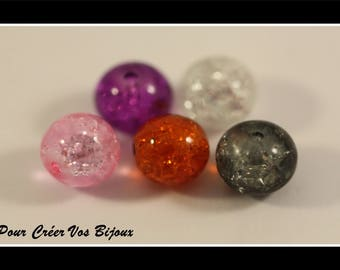 Set of 20 glass Crackle 8 mm beads in different colors