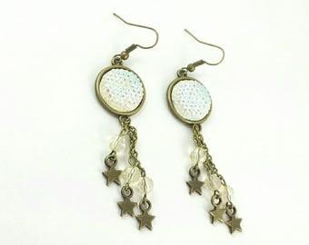 White iridescent #strass pendants earrings.