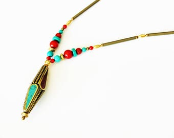 Ethnic gold plated necklace with Tibetan bead, genuine turquoise and coral