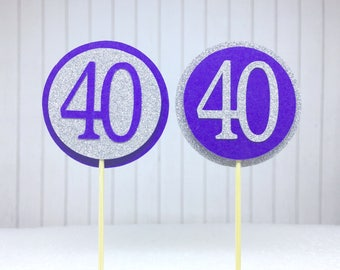 "40th Birthday Cupcake Toppers - Silver Glitter & Violet Purple ""40"" - Set of 12 - Elegant Cake Cupcake Age Topper Picks Party Decorations"