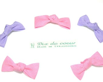 Set of 5 hair clips kids hair double cotton bowtie