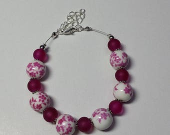 Cable bracelet pearls porcelain pink and fuchsia