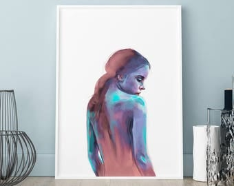 Painted girl poster, Painted girl print, Wall art, Art Print, Scandinavian print, Scandinavian poster