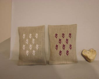 Small Lavender pillows in linen natural color