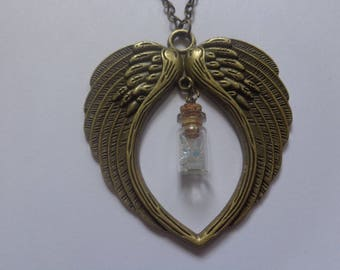 Bronze pendant necklace double wing and small vial and Swarovski element