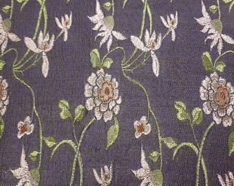 purple violet fabric Kyoto flower motifs