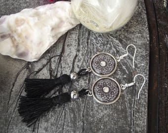Large hoop earrings silver dangle hooks, round glass cabochons black, grey and white flowers with a bright Center
