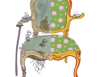 Humorous illustration convertible Louis XV, humor, upholstery, Chair, pop, Studio, living room decor