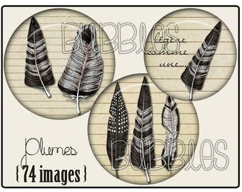 Feathers Printable Images Digital Collage Sheet for Jewelry Making