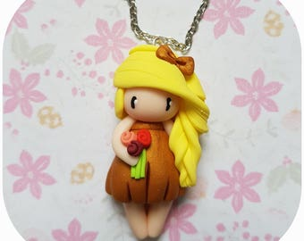 "Necklace little girl ""blonde hair, Golden"" (flowers collection)"