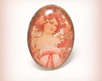 "Cabochon ring ""tenderness Mucha blossoms"""