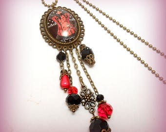 """The dragon Corset"" glass Cabochon necklace"