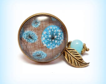 "Ring cabochon glass ""Thistles in turquoise!"""