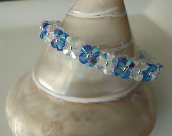 Bracelet blue Sapphire and Crystal Swarovski Crystal beads
