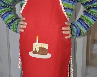 Apron plain red, 6-8 years old birthday cake decor, customizable