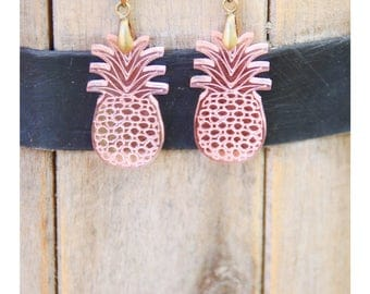 Earrings - pineapple-etched pattern model: transparent pink