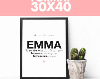Print full customization - Name + date of birth + size & weight (size 30 x 40 cm)