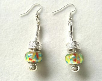 dangle earrings multicolor yellow