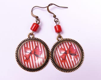 Red Bow cabochons earrings