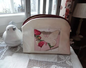 Toiletry bag in coated butterfly and Scriptures, lined with waterproof canvas