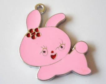 2 x charms bunnies pink metallic