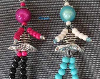 Turquoise or pink doll bag charm or pendant