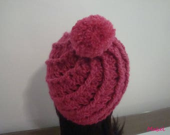 Hat with Pompom, crochet, warm and soft fuschia pink