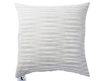 Light Grey Organic All Natural Cotton Ikat Decorative Pillow