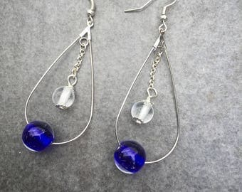 Earrings with two murano glass beads