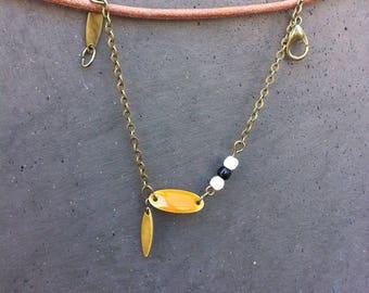 Bracelet thin bronze - sequin enamel Shuttle, bead and charm