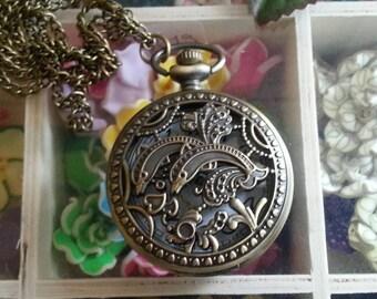 Watch has a Pocket Watch Vintage zinc alloy hollow watch heads quartz Pocket Watch necklace pendant making.